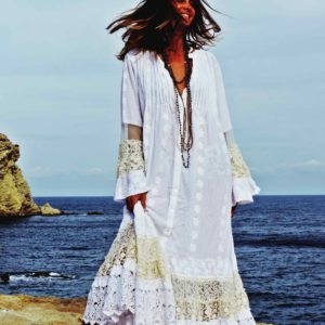 long white cotton dress with embroided flowers